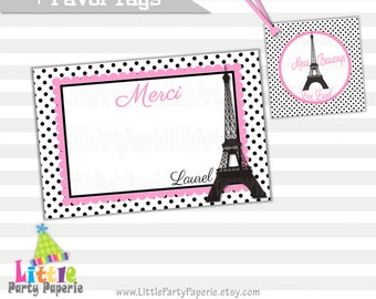 Paris Thank You Cards and Favor Tags | Paris | Eiffel Tower | Digital Cards and Favor Tags | Printable Cards | Girl Birthday |  Design 15018