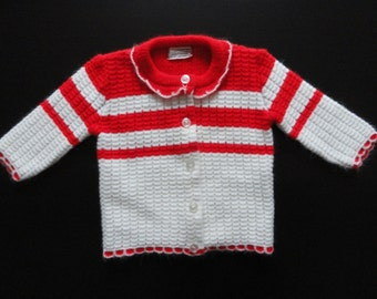 Red & White Stripe Sweater, Vintage Baby Sweater, 6-12 months, Vintage Sears, Holiday Sweater, Photo shoot ready,