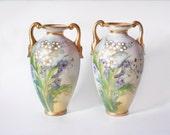 RARE Vintage Nippon Vase Pair Nippon Noritake Pastel Floral Antique Vase Art Deco Shabby Chic Fine Bone China Hydrangea Wedding Gift for Her