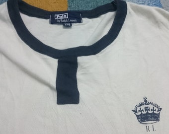 Clearance Sale!!!Vintage 90s//POLO Ralph Lauren// Beige Ringer T-Shirt//Rare//Size fit to S//Polo Sport Polo Bear P Wing