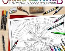 Articles populaires correspondant marijuana mandala sur etsy - Coloriage feuille de cannabis ...