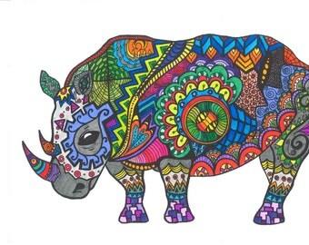 Bright, Colorful, Original Art, Ink and Pen, Rhinoceros, Modern, Rhino, Affordable Art.