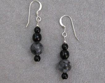 Larkivite (Blue Labradorite), Glass & Sterling Silver Earrings - n0858e01