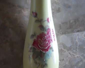 Vintage Norleans Bud Vase,Made in japan,Porcelain, Pink Roses on Yellow background,Raised White Trim on roses, Gold trim