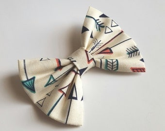 Fabric bow hair clip - arrows bow - arrows hair bow- cream bow- newborn headband - toddler headband - baby headband - infant headband- teen