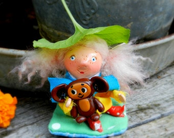 polymer clay doll ooak doll girl with cheburashka clay figurine handmade doll