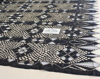 Black lace, Unique fabric, Geometrical lace, Wedding Lace, Bridal Lace, Discount -30%    M000032