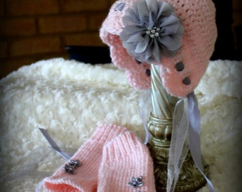 Baby Girl BONNET with matching Leg warmers, PINK and Grey baby hat, Newborn Valentine BABY Bonnet