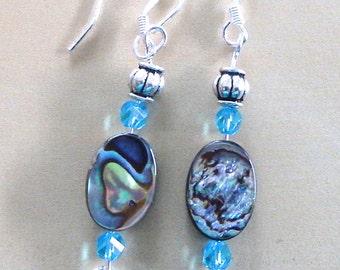 Abalone & blue crystal earrings