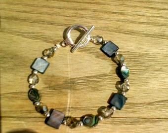 Abalone & Shell Crystal Beaded Bracelet