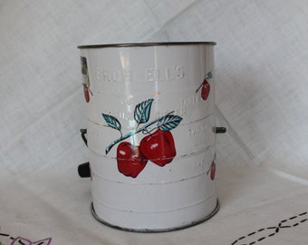 Mid Century Bromwell's Flour Sifter - White with Red Apples