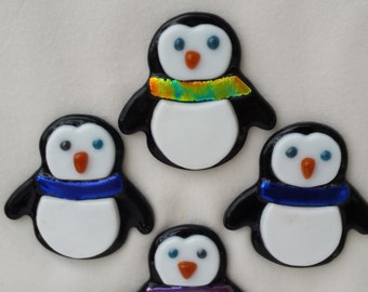 Fused Glass Penguin Magnets