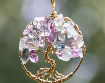 Rainbow Flourite Tree of Life on Brass Wire