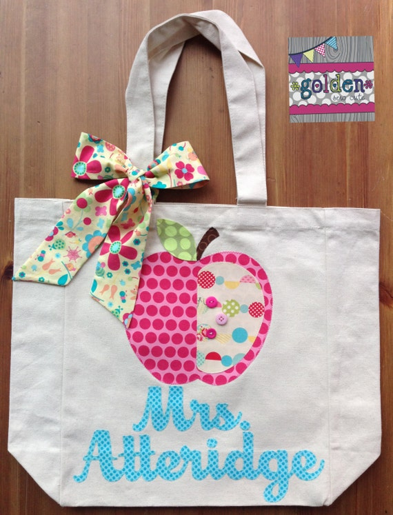 Personalized Name and Apple Teacher Tote Bag with Fabric Bow, Red, Aqua, Flower