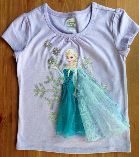 Elsa Frozen inspired Snowflake tee, Birthday Age and Name Available!
