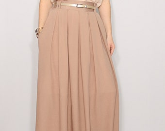 Light brown skirt Women maxi skirt Long chiffon skirt High waisted maxi skirt with pockets