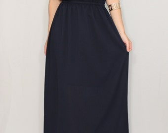 Navy Bridesmaid dress Chiffon dress Long navy blue dress Prom dress