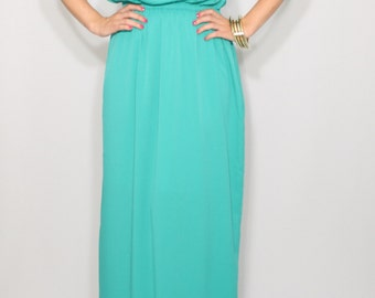 Turquoise Bridesmaid dress Long chiffon dress Prom dress Keyhole dress