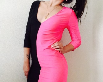 80s Colorblock Bodycon Backless Dress