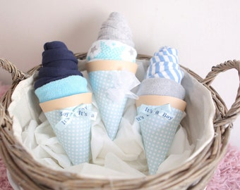 Set of 3  Ice Cream Corn New Mom Gift / Baby shower gift for a boy / body suit wash cloth / shower decoration / unique gifts basket / twins