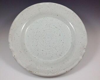 Large Round Stoneware Platter, Speckled White Platter