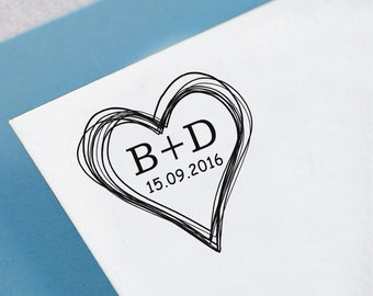 Custom Monogram Stamp Self Inking Save The Date Stamp Personalized Heart Stamper Wedding Invitation Stamp Heart Scribble Proposal Gift HS57P