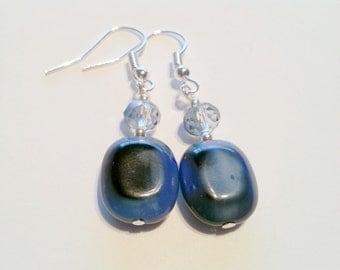 Navy glass beaded earrings