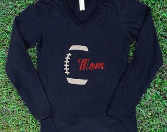 Football Mom Glitter Long Sleeved Shirt