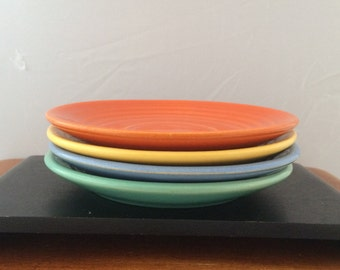 Vintage Bauer Pottery Ringware Saucers - Delph, Yellow, Orange and Green