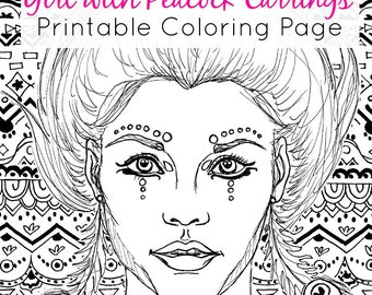 Downloadable Coloring Page | Girl with Peacock Earrings + Zentangle Background Line Art | Adult Coloring PDF & JPEG