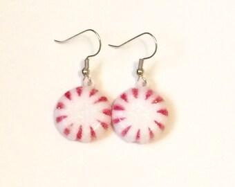 Peppermint earrings, christmas earrings