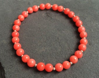 Pink Coral and .925 Sterling Silver Bead Stretch Bracelet
