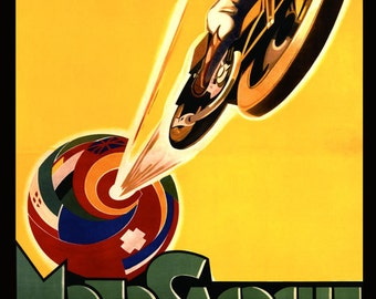 Motorcycle Motosacoche  Bike Cycle Motocross Globe Speed Race Vintage Poster Repro FREE SHIPPING in USA