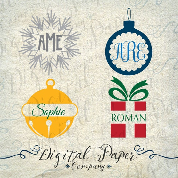 Items similar to christmas holiday monogram ornaments svg