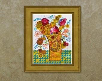 September Glories Water Color/Mixed Media Print, Flower Art, Floral, Botanical, Giclee Art Print, Archival Art Print