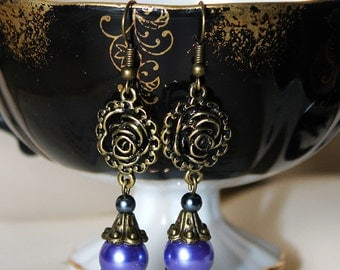 Purple and Antiqued Bronze Roses Earrings
