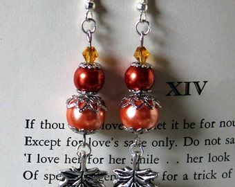 Orange Autumn Leaves Earrings