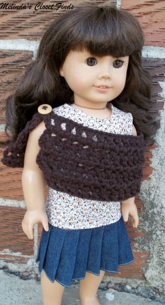 3-piece Autumn Outfit, American Girl Doll Clothes, 18 inch Doll Clothes, AG Doll Clothes, Fall Print Top, Denim Skirt, Crochet Button Shawl