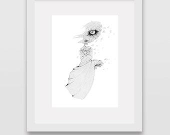 Broken, broken drawing, broken prints, broken art, art print, pencil drawing, art dolls, illustration prints, art drawing, art dolls print,
