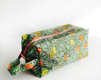 Boxy Bag Knitting Project Bag - Green & Orange