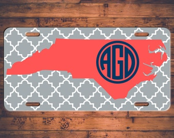 Monogram License Plate North Carolina NC Custom Car Tags Monogrammed Tag Customized Car Plate Personalized Gifts - Customize your own!