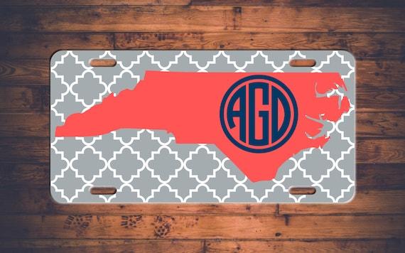 Handmade Baskets North Carolina : Monogram license plate north carolina nc custom car tags