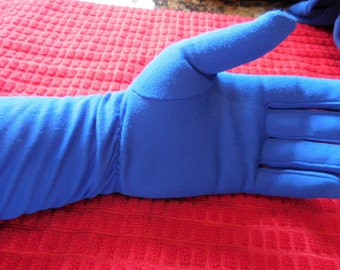Vintage Gloves, New York Glove Co. 100% Nylon, Made in USA, Electric Blue Gloves, Long Gloves, Gathered Wrist Gloves, Royal Blue Gloves