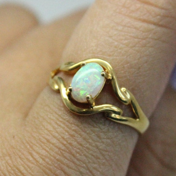 Opal 18k Gold Ring | Thin Gold Ring | Bridesmaids Gift | Yellow Gold Opal Stone Ring | Genuine Opal Stone | Christmas Gift