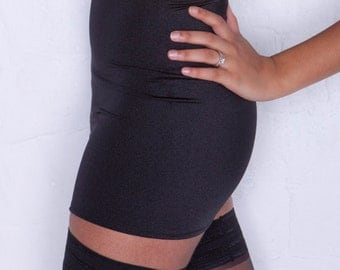 Black Lycra Stretch Mini Skirt XS1