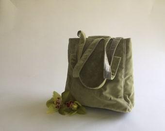 Soft Velvet - Moss Green Tote
