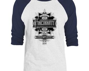 Mintage Cincinnati Vintage Advert 3/4-Sleeve Raglan Baseball T-Shirt