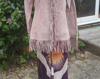 Super, Quirky Fringed Suede Jacket. Pink! So 70s!