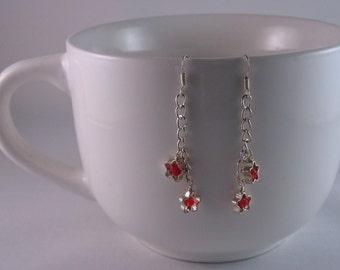 Red stars earrings