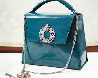 jewelery hand bag blue turquoise glitter leather wedding  new year hand made party bag  2016 fashion for modern style woman